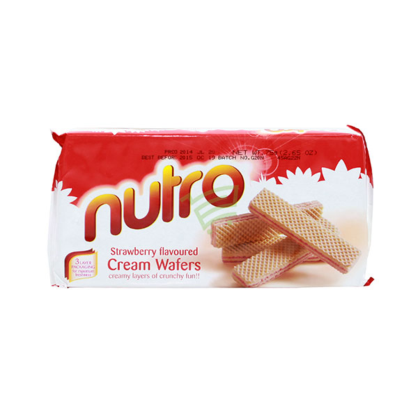 Indian grocery online - Nutro Strawberry Cream Wafers 75G - Cartly