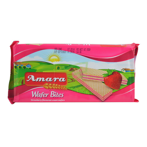 Indian grocery online - Amara Strawberry Wafer Bites 85G - Cartly