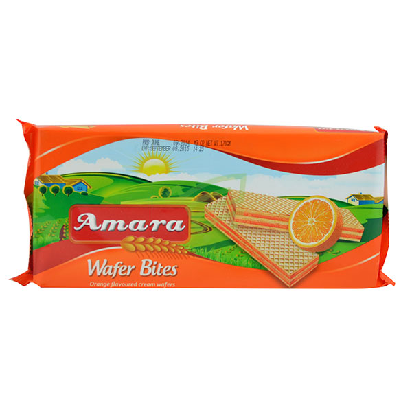 Indian grocery online - Amara Orange Wafer Bites 170G - Cartly