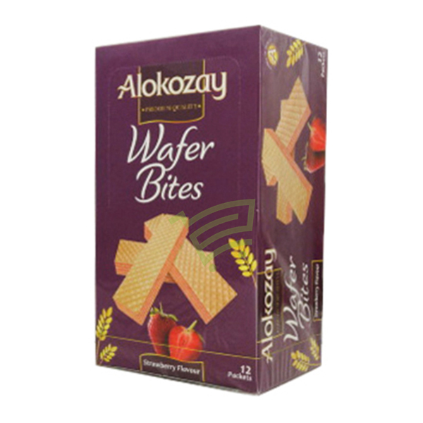 Indian grocery online - ALOKOZAY WAFER BITES (STRAWBEERY )12 PACKETS - Cartly