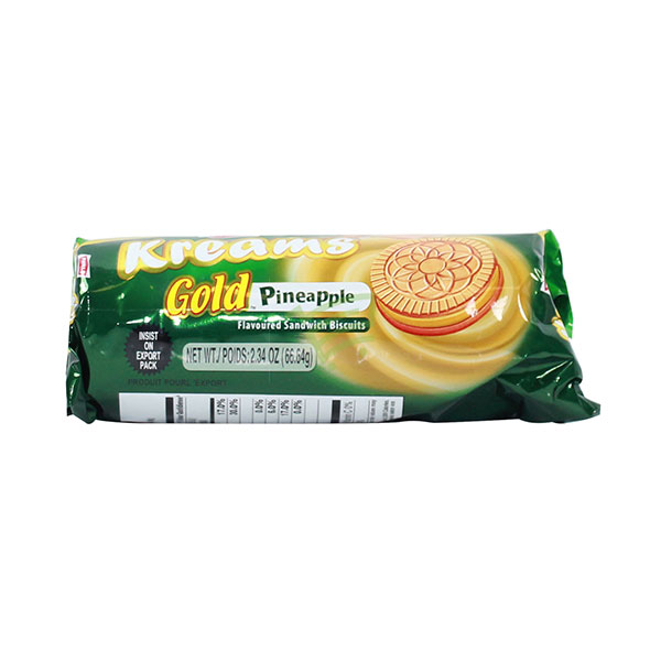 Indian grocery online - Parle Kreams Gold Pineapple Cream Biscuits 80G - Cartly