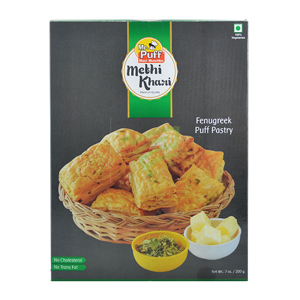 Indian grocery online - Mr. Puff Fenugreek Puff Pastry/Khari 200G - Cartly